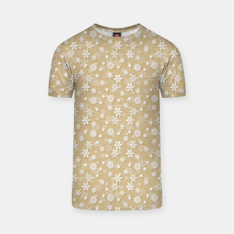 Miniatur Festive Gold and White Christmas Holiday Snowflakes T-shirt, Live Heroes