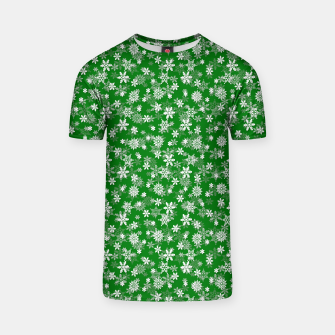 Miniatur Festive Green and White Christmas Holiday Snowflakes T-shirt, Live Heroes