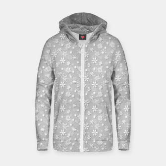 Miniatur Festive Silver Grey and White Christmas Holiday Snowflakes Cotton zip up hoodie, Live Heroes