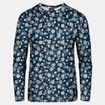 Miniatur Festive Midnight Blue and White Christmas Holiday Snowflakes Cotton sweater, Live Heroes