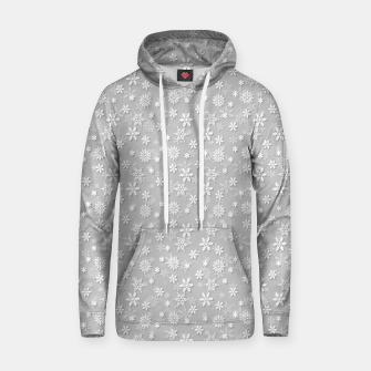 Miniatur Festive Silver Grey and White Christmas Holiday Snowflakes Cotton hoodie, Live Heroes