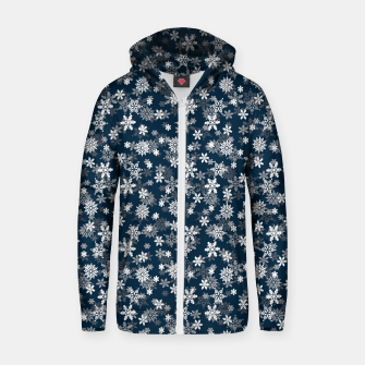 Miniatur Festive Midnight Blue and White Christmas Holiday Snowflakes Cotton zip up hoodie, Live Heroes
