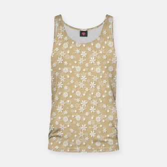 Miniatur Festive Gold and White Christmas Holiday Snowflakes Tank Top, Live Heroes