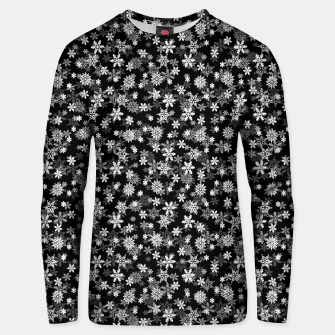 Miniatur Festive Black and White Christmas Holiday Snowflakes Cotton sweater, Live Heroes