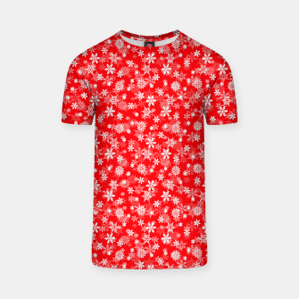 Miniatur Festive Red and White Christmas Holiday Snowflakes T-shirt, Live Heroes
