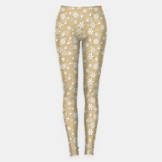 Miniatur Festive Gold and White Christmas Holiday Snowflakes Leggings, Live Heroes