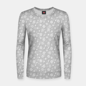 Miniatur Festive Silver Grey and White Christmas Holiday Snowflakes Woman cotton sweater, Live Heroes