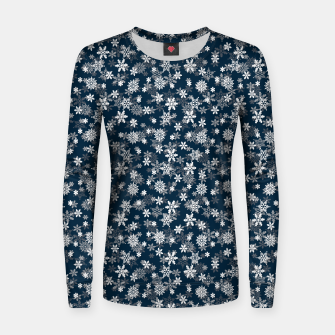 Miniatur Festive Midnight Blue and White Christmas Holiday Snowflakes Woman cotton sweater, Live Heroes