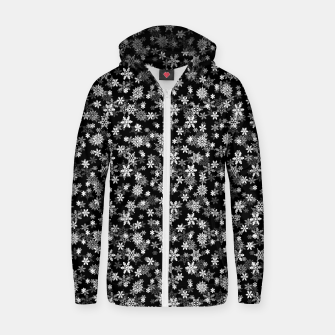Miniatur Festive Black and White Christmas Holiday Snowflakes Cotton zip up hoodie, Live Heroes
