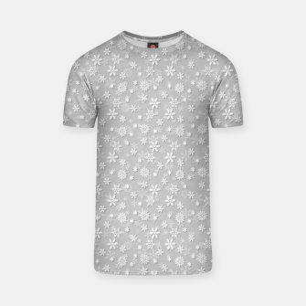 Miniatur Festive Silver Grey and White Christmas Holiday Snowflakes T-shirt, Live Heroes