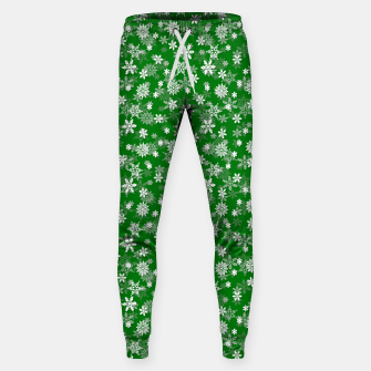Miniatur Festive Green and White Christmas Holiday Snowflakes Cotton sweatpants, Live Heroes