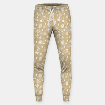 Miniatur Festive Gold and White Christmas Holiday Snowflakes Cotton sweatpants, Live Heroes