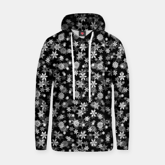 Miniatur Festive Black and White Christmas Holiday Snowflakes Cotton hoodie, Live Heroes