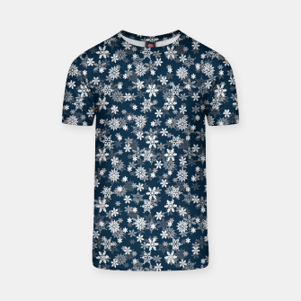 Miniatur Festive Midnight Blue and White Christmas Holiday Snowflakes T-shirt, Live Heroes