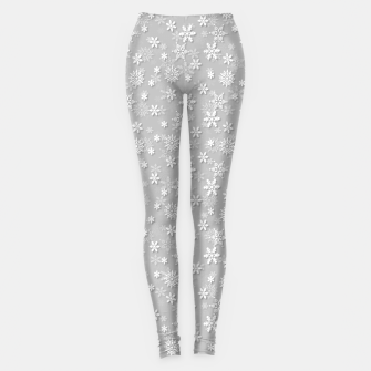 Miniatur Festive Silver Grey and White Christmas Holiday Snowflakes Leggings, Live Heroes