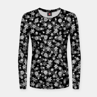 Miniatur Festive Black and White Christmas Holiday Snowflakes Woman cotton sweater, Live Heroes