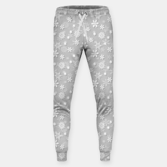Miniatur Festive Silver Grey and White Christmas Holiday Snowflakes Cotton sweatpants, Live Heroes