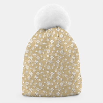 Miniatur Festive Gold and White Christmas Holiday Snowflakes Beanie, Live Heroes