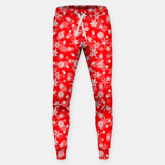 Miniatur Festive Red and White Christmas Holiday Snowflakes Cotton sweatpants, Live Heroes