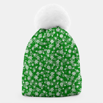 Miniatur Festive Green and White Christmas Holiday Snowflakes Beanie, Live Heroes
