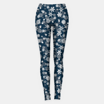 Miniatur Festive Midnight Blue and White Christmas Holiday Snowflakes Leggings, Live Heroes