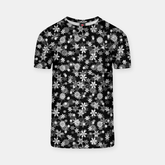 Miniatur Festive Black and White Christmas Holiday Snowflakes T-shirt, Live Heroes