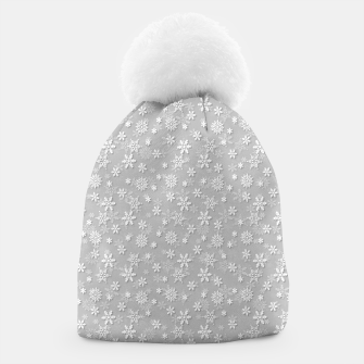Miniatur Festive Silver Grey and White Christmas Holiday Snowflakes Beanie, Live Heroes