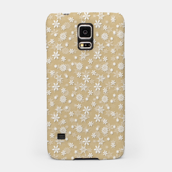 Miniatur Festive Gold and White Christmas Holiday Snowflakes Samsung Case, Live Heroes
