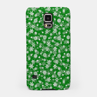 Miniatur Festive Green and White Christmas Holiday Snowflakes Samsung Case, Live Heroes