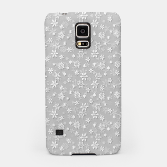 Miniatur Festive Silver Grey and White Christmas Holiday Snowflakes Samsung Case, Live Heroes