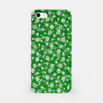 Miniatur Festive Green and White Christmas Holiday Snowflakes iPhone Case, Live Heroes