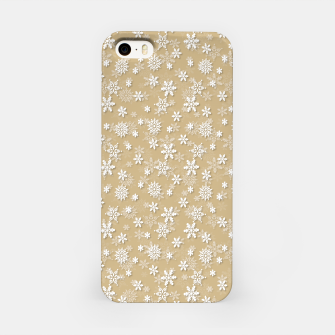 Miniatur Festive Gold and White Christmas Holiday Snowflakes iPhone Case, Live Heroes