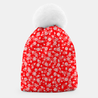 Miniatur Festive Red and White Christmas Holiday Snowflakes Beanie, Live Heroes
