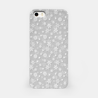 Miniatur Festive Silver Grey and White Christmas Holiday Snowflakes iPhone Case, Live Heroes