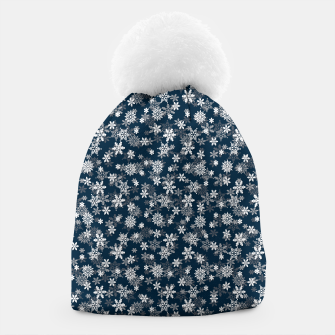 Miniatur Festive Midnight Blue and White Christmas Holiday Snowflakes Beanie, Live Heroes