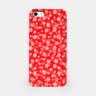 Miniatur Festive Red and White Christmas Holiday Snowflakes iPhone Case, Live Heroes