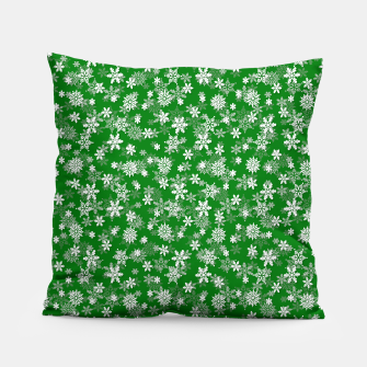 Miniatur Festive Green and White Christmas Holiday Snowflakes Pillow, Live Heroes