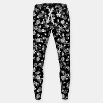 Miniatur Festive Black and White Christmas Holiday Snowflakes Cotton sweatpants, Live Heroes