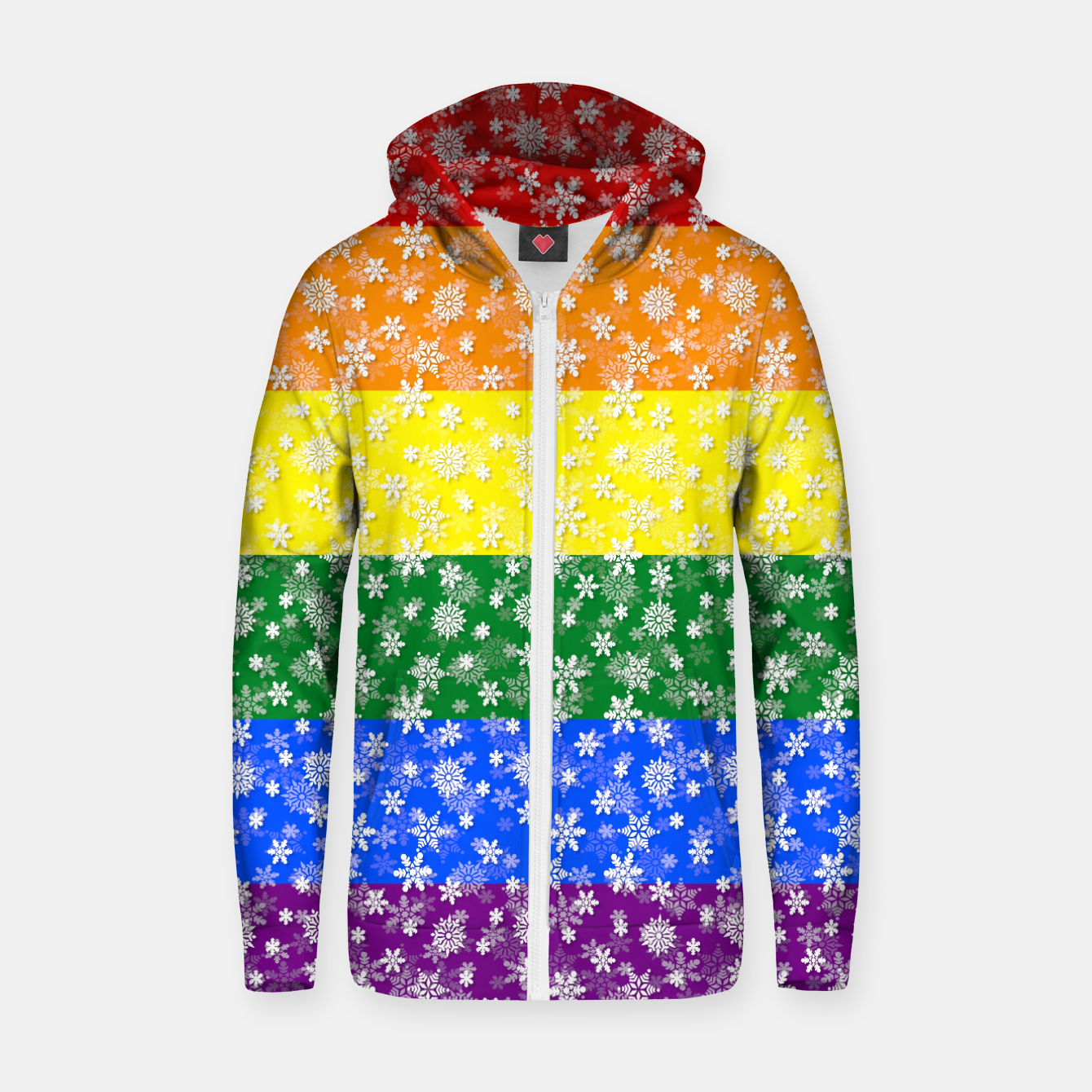 d6f9d5f212 Christmas Pride Bright Festive Rainbow Snowflakes Zip up hoodie ...