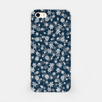 Festive Midnight Blue and White Christmas Holiday Snowflakes iPhone Case Bild der Miniatur