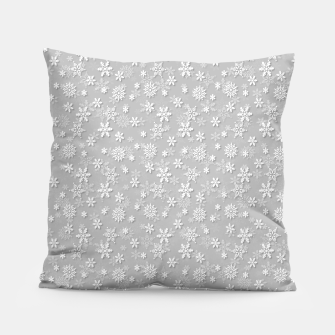 Miniatur Festive Silver Grey and White Christmas Holiday Snowflakes Pillow, Live Heroes