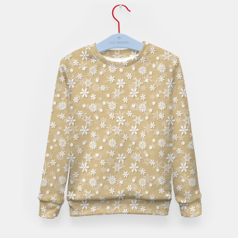 Miniatur Festive Gold and White Christmas Holiday Snowflakes Kid's sweater, Live Heroes