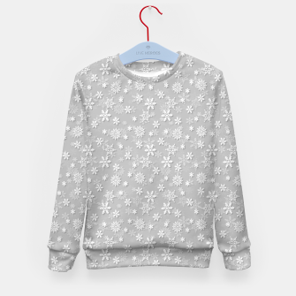 Miniatur Festive Silver Grey and White Christmas Holiday Snowflakes Kid's sweater, Live Heroes