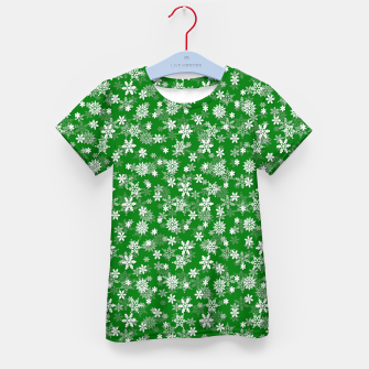 Miniatur Festive Green and White Christmas Holiday Snowflakes Kid's t-shirt, Live Heroes