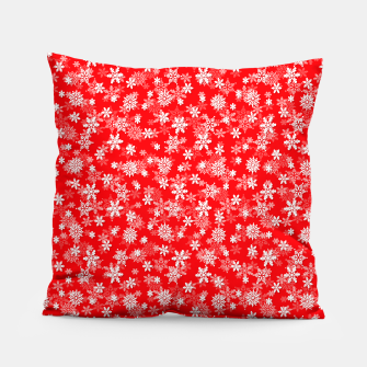 Miniatur Festive Red and White Christmas Holiday Snowflakes Pillow, Live Heroes