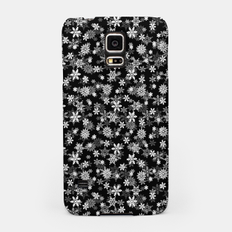 Miniatur Festive Black and White Christmas Holiday Snowflakes Samsung Case, Live Heroes