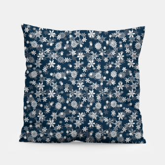 Miniatur Festive Midnight Blue and White Christmas Holiday Snowflakes Pillow, Live Heroes