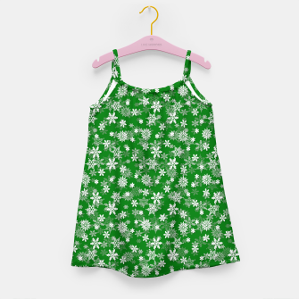 Miniatur Festive Green and White Christmas Holiday Snowflakes Girl's dress, Live Heroes
