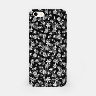 Miniatur Festive Black and White Christmas Holiday Snowflakes iPhone Case, Live Heroes
