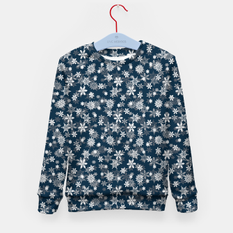 Miniatur Festive Midnight Blue and White Christmas Holiday Snowflakes Kid's sweater, Live Heroes